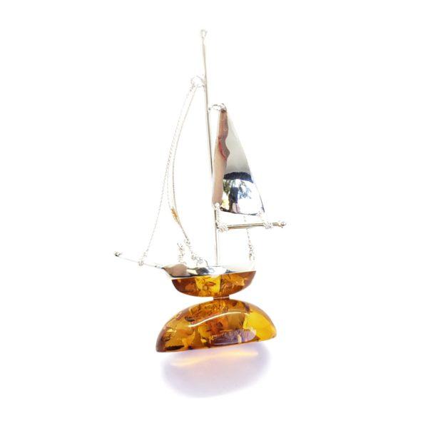 Cognac Amber Sterling Silver Boat Statuette
