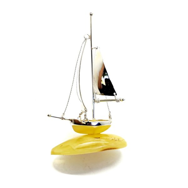 Butterscotch Amber Sterling Silver Boat Statuette