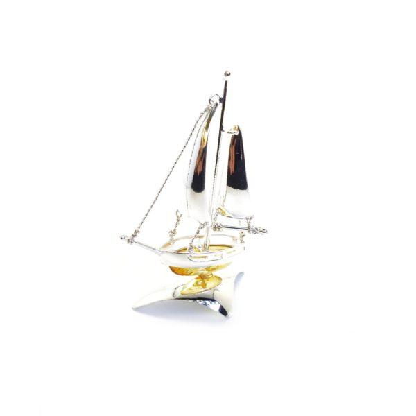 Citrine Color Amber Sterling Silver Boat Statuette
