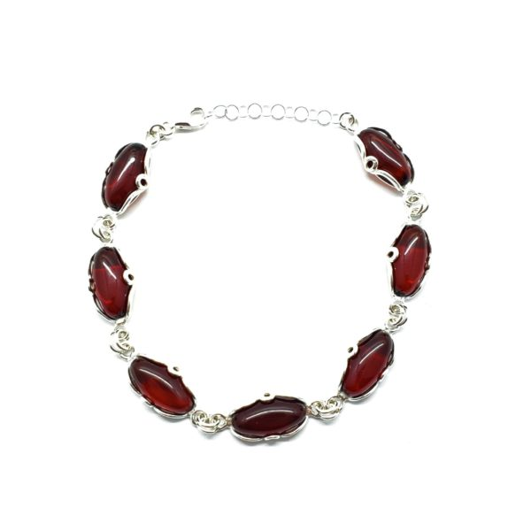 Cherry Amber / Silver Link Bracelet