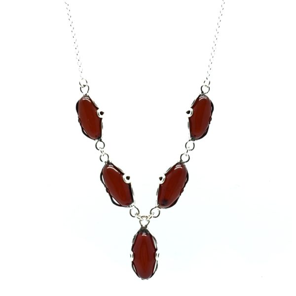 Cherry Amber Sterling Silver Necklace