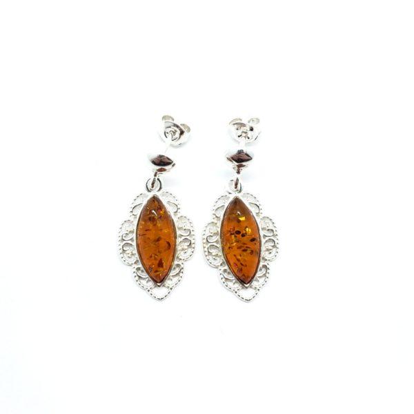 Cognac Amber Filigree Silver Post Dangle Earrings