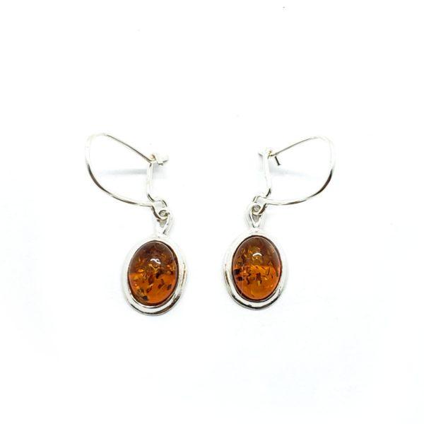Cognac Amber Oval Earrings On Hooks