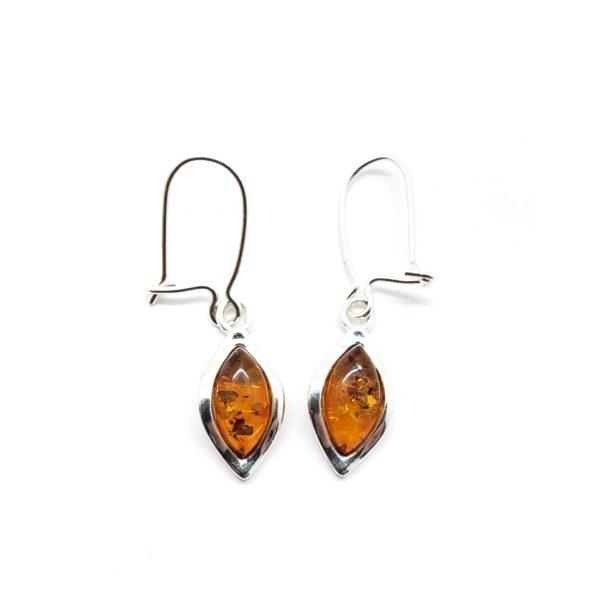 Cognac Amber Marquise Earrings On Hooks