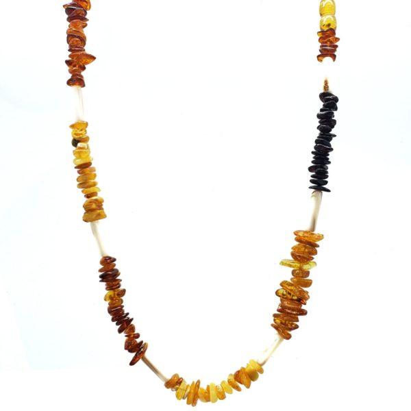 Multi Color Amber / Seashell Necklace