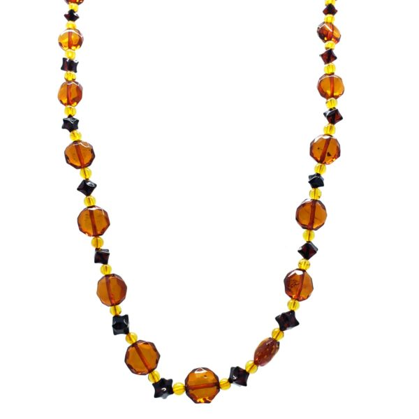 Multi Color Amber Semi Faceted Necklace