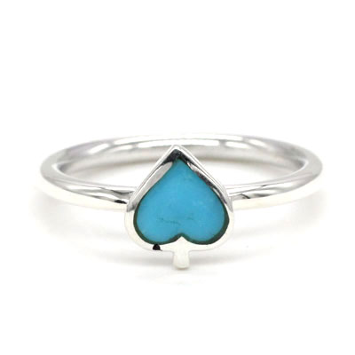 """Turquoise / Sterlng Silver """"Spade"""" Ring Set"""