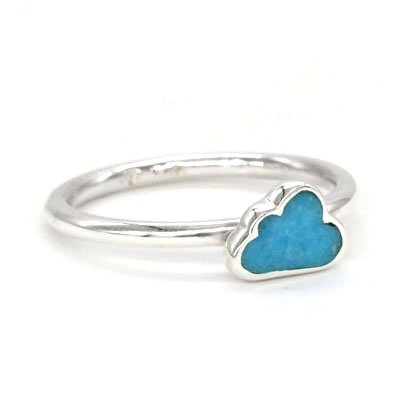 """Turquoise / Sterling Silver """"Cloud"""" Ring Set"""