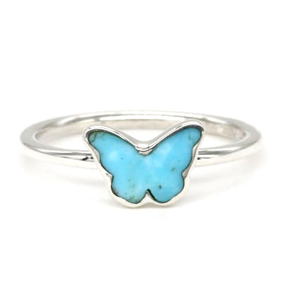 Turquoise / Sterling Silver Butterfly Ring Set