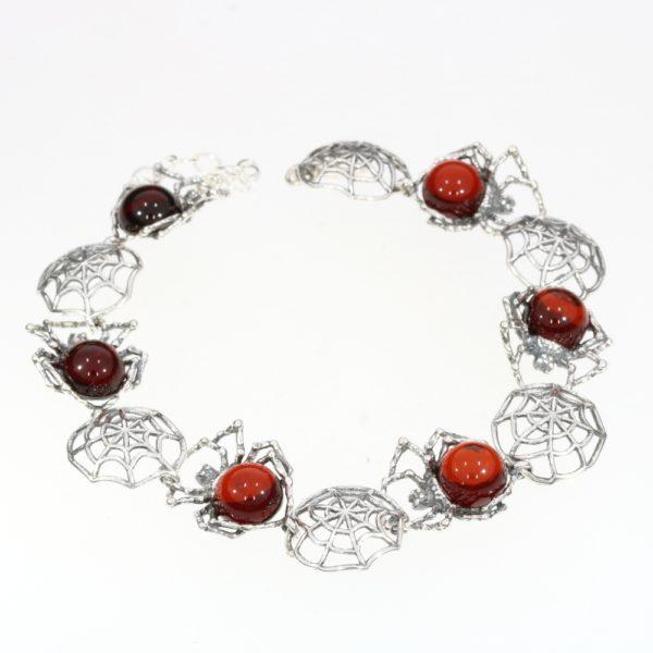 Cherry Amber Sterling Silver Spider Link Bracelet