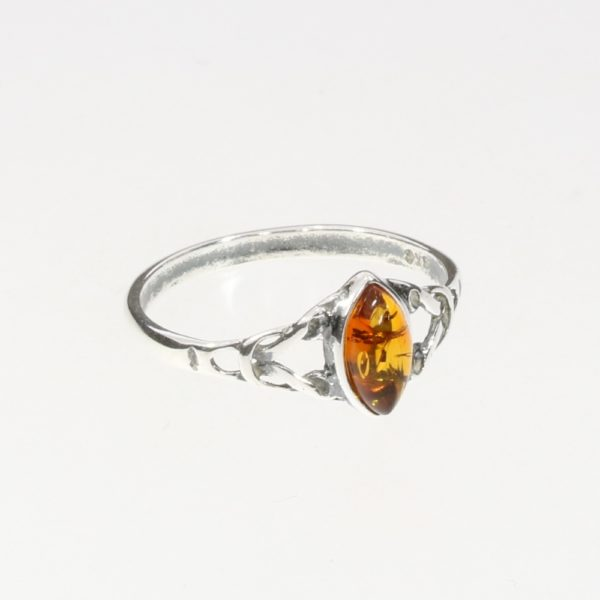 Cognac Amber Celtic Style Ring