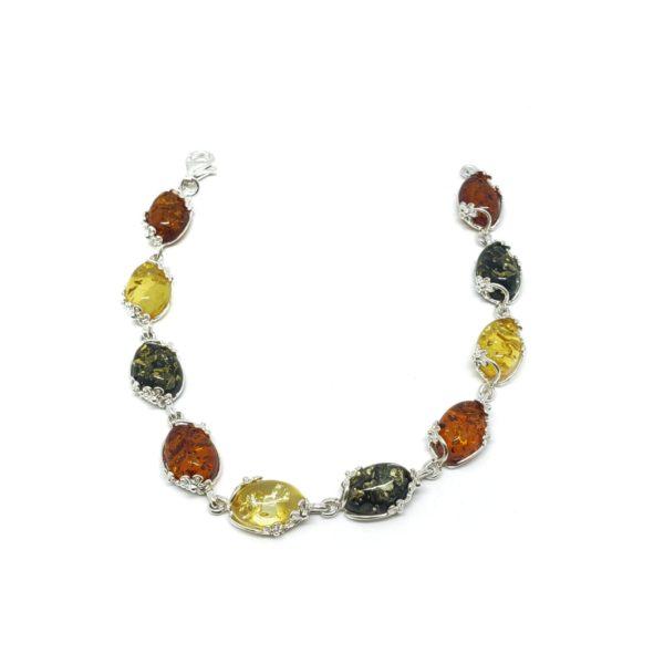 Multi Color Amber Flower Design Silver Setting Link Bracelet