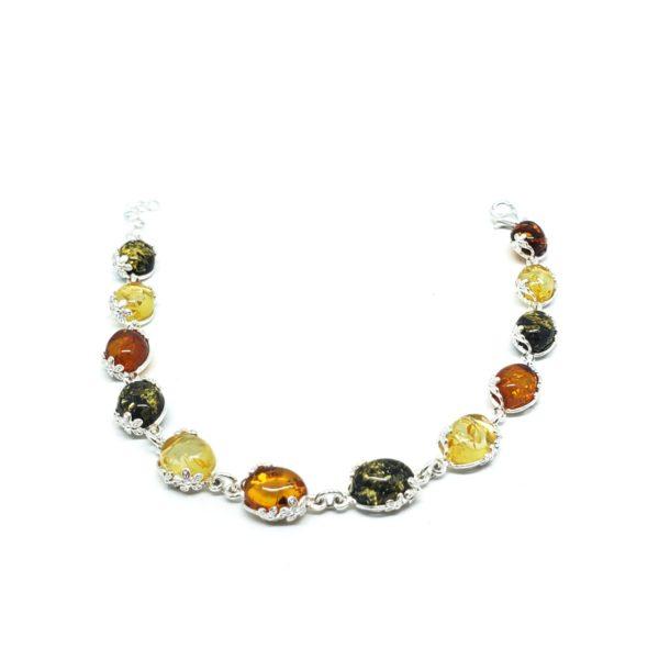 Multi Color Amber Flower Design Silver Setting Small Link Bracelet