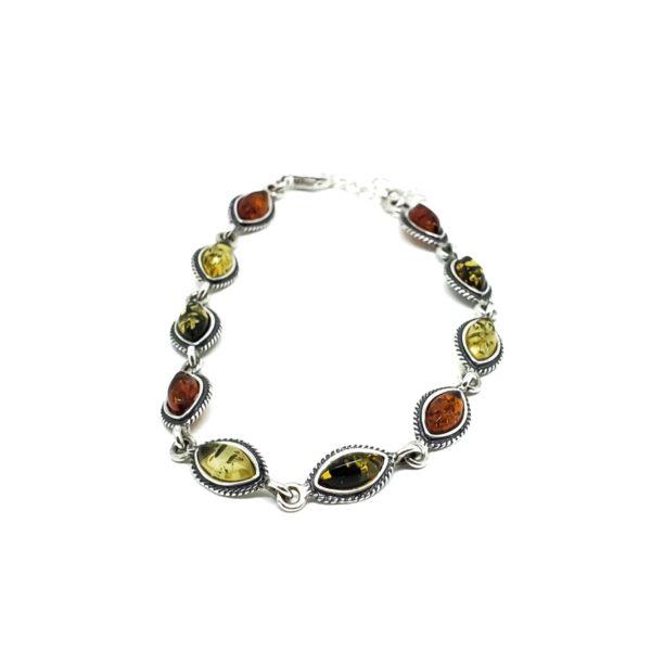 Multi Color Amber Oxidized Silver Link Bracelet