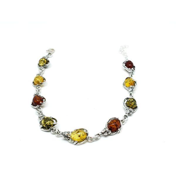 """Multi Color Amber """"Flower"""" Design Silver Link Bracelet"""