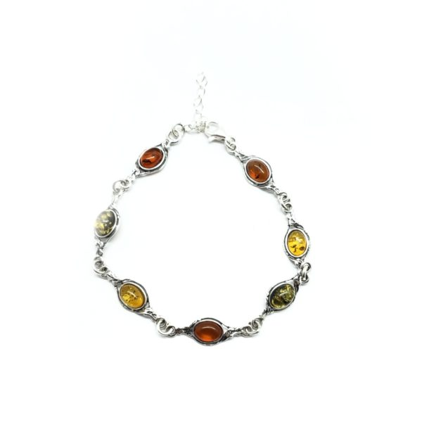 Multi Color Amber Oxidized Silver Bracelet