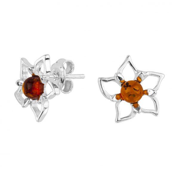 """Cognac Amber """"Flower"""" Stud Earrings"""