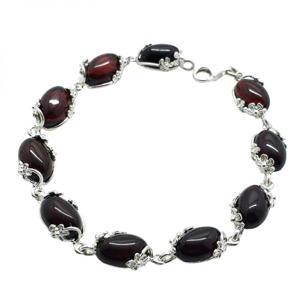 Cherry Amber Flower Design Silver Link Bracelet