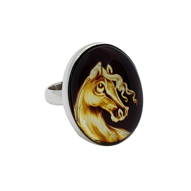 "Carved Amber ""Horse"" Reversed Intaglio Adjustable Ring"