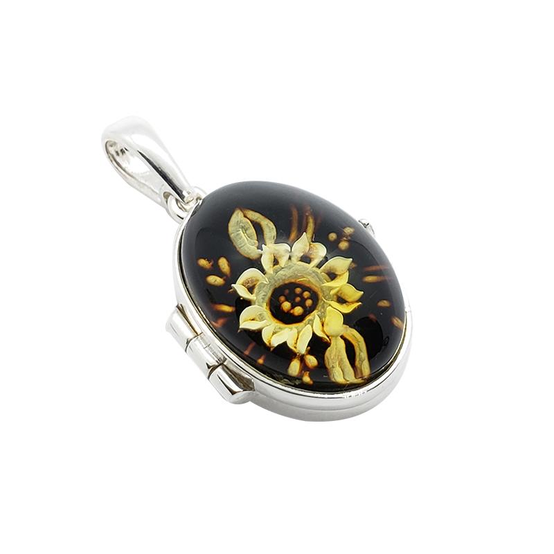 Sunflower Cameo / Intaglio Locket Pendant