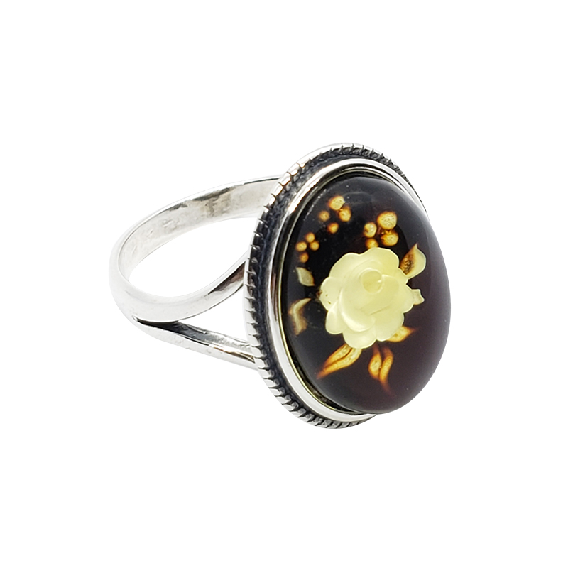 "Carved Amber ""Rose"" Reversed Intaglio Adjustable Ring"