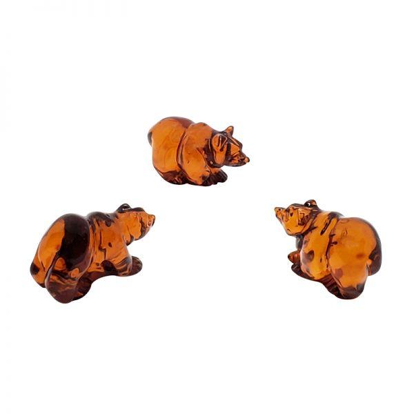 Cognac Amber Carved Bear Statuette