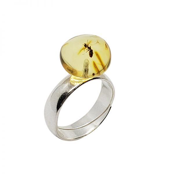 Citrine Amber .925 Silver Adjustable Ring With Insects