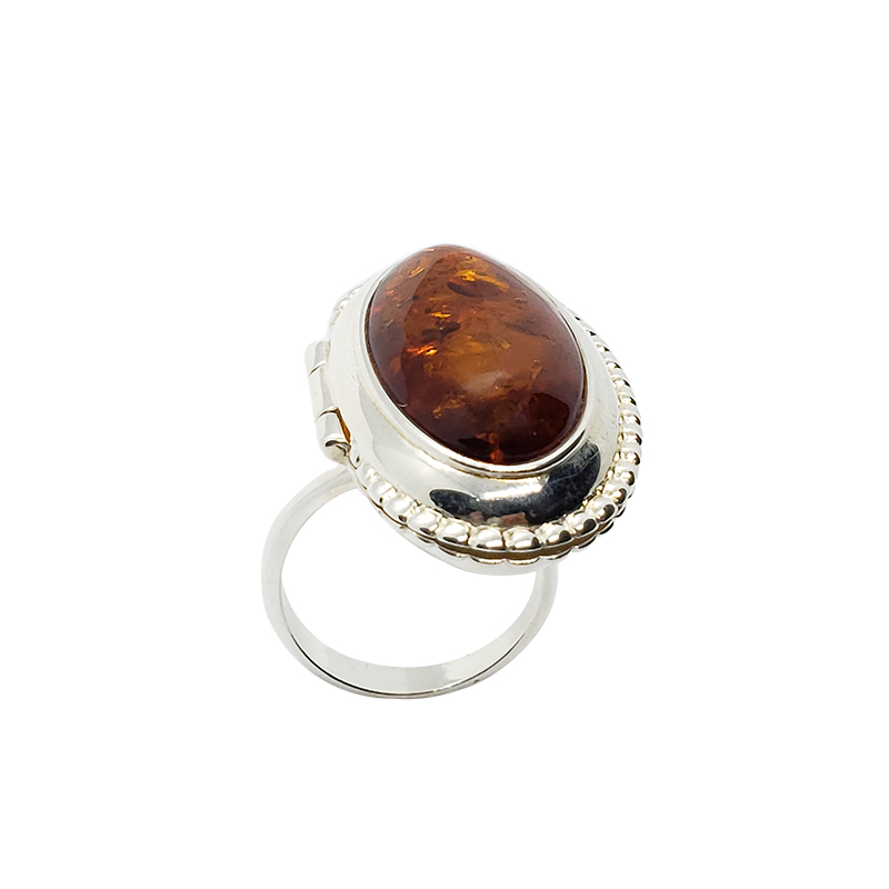 Cognac Amber Locket / Poison Adjustable Ring