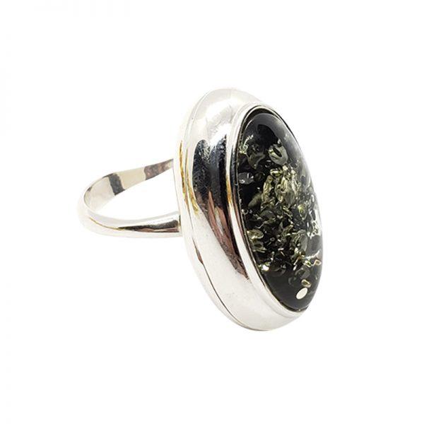 Green Amber Locket / Poison Adjustable Ring
