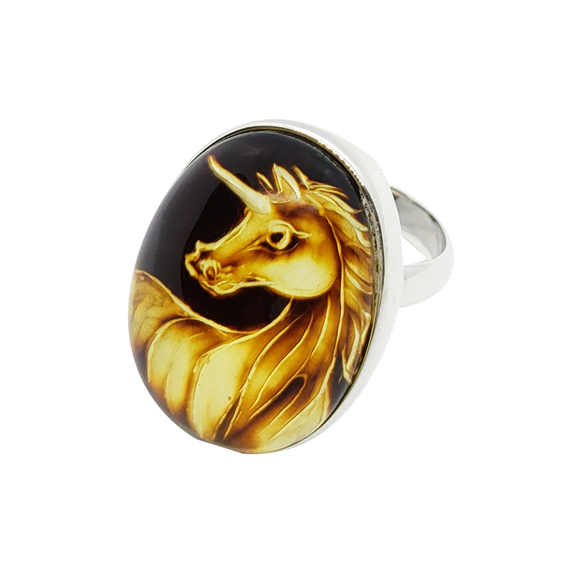 "Carved Amber ""Unicorn"" Reversed Intaglio / Cameo Ring"