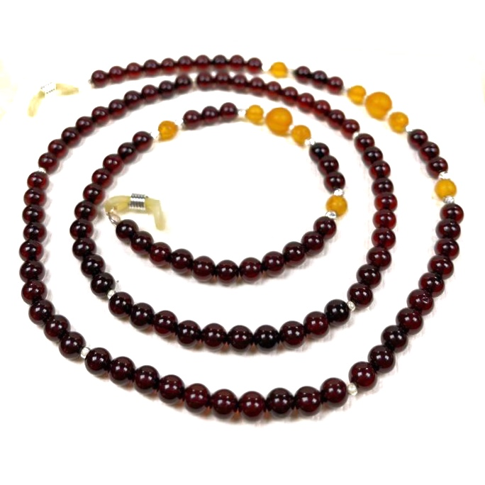 Multi Color Amber Sterling Silver Eyeglass Necklace / Chain
