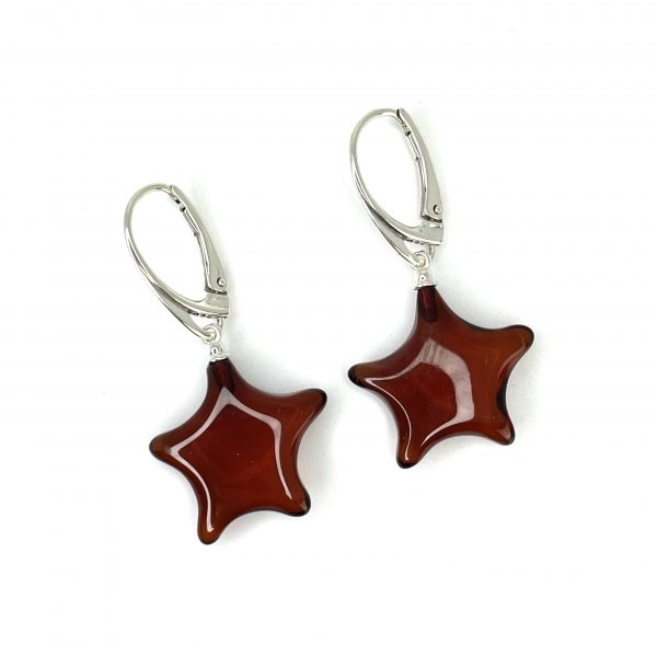 Cherry Amber Sterling Silver Dangle Earrings.