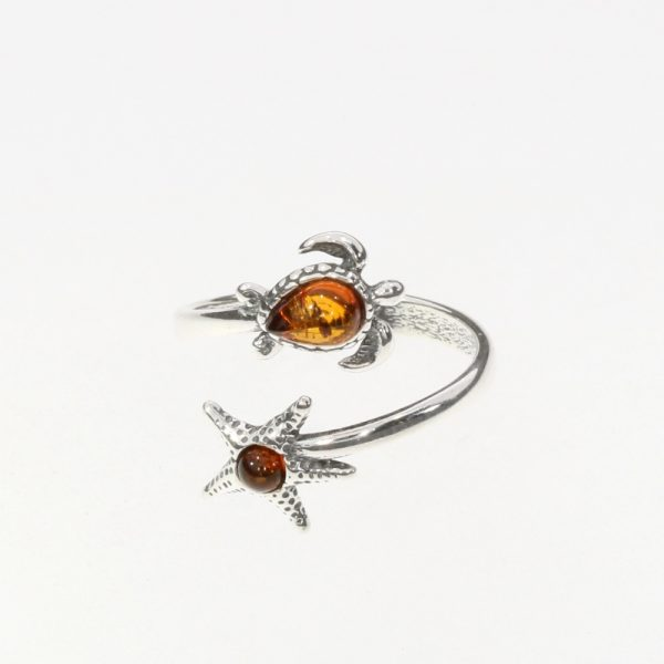 Cognac Amber Seastar And Turtle Adjustable Ring