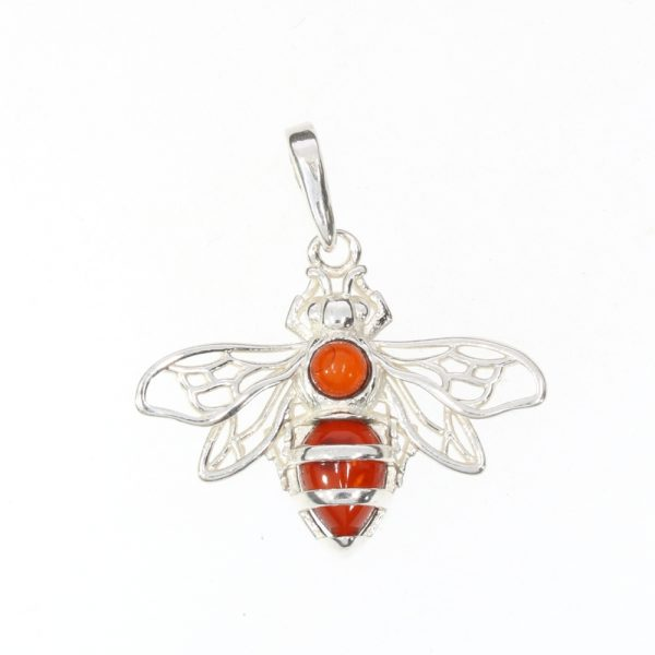 Cherry Amber Sterling Silver Bee Pendant