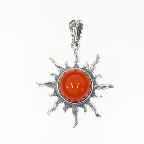Cherry Amber Sterling Silver Sun Pendant