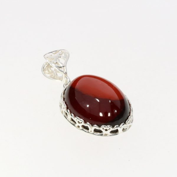 Cherry Amber Sterling Silver Pendant