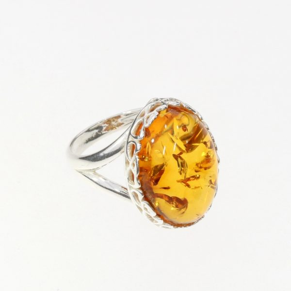 Cognac Amber Adjustable Ring