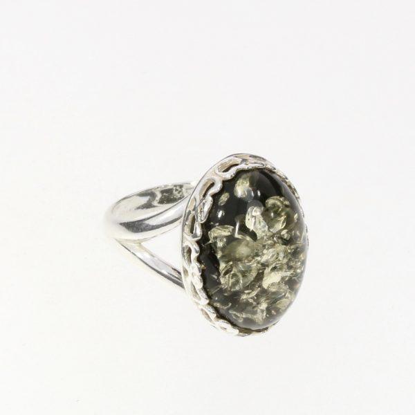 Green Amber Adjustable Ring