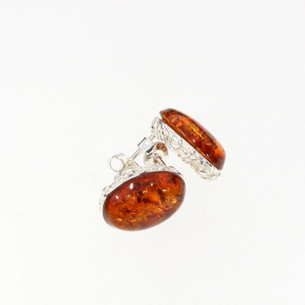 Cognac Amber Stud Earrings