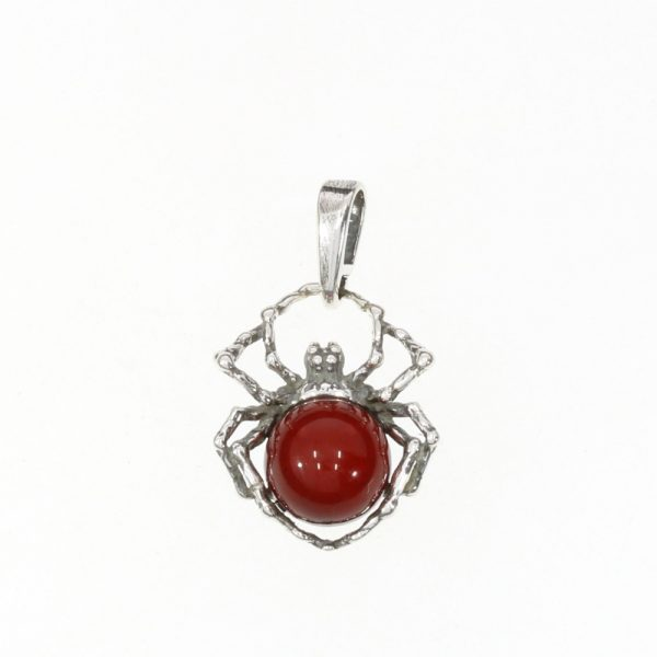 Cherry Amber Sterling Silver Spider Pendant