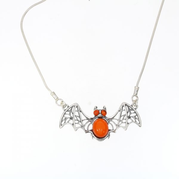"""Cherry Amber Sterling Silver """"Bat"""" Necklace"""
